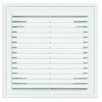 Решетка 2121 ВР, белая, вентиляционная с рамкой и сеткой 210х210, АВS- пластик