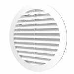 Решетка круглая 12РКН белая, наружная вентиляционная D125, ASA-пластик