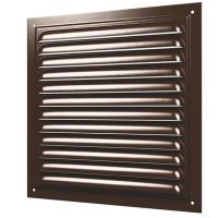 Решетка стальная 2525МЭ, коричневая, вентиляционная с покрытием полимерной эмалью, с сеткой 250х250