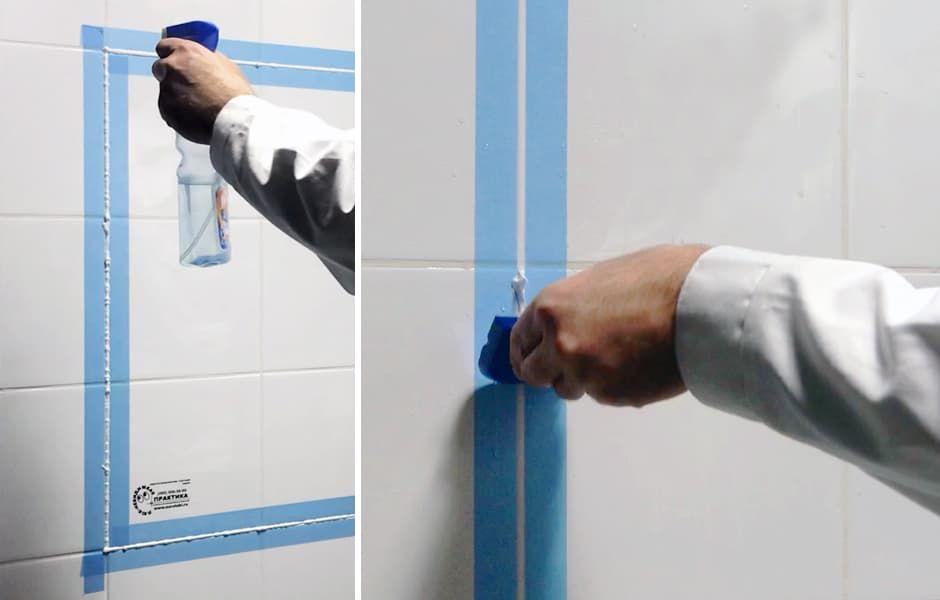 Удаляем излишки силикона с помощью резинового шпателя